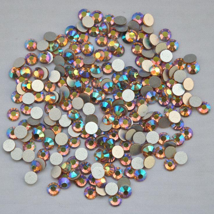 Lt.C.Topaz AB ss3,ss4,ss5,ss6,ss8,ss10,ss12,ss16,ss20,ss30 Flat Back Crystal Non Hotfix Nail Art Glue On Rhinestones