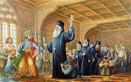 Archbishop of Cyprus Kyprianos declaring Cyprus revolution 1821 - Cyprus assists Greece in the common fight against Turkey