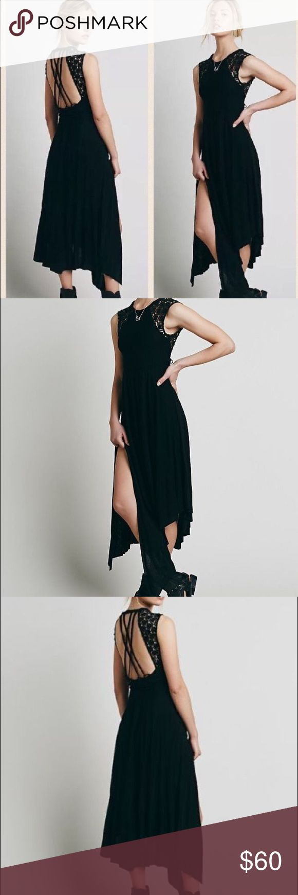 Free People Afternoon Delight Black Midi Dress M Free People Afternoon Delight Black Strappy Back Side Slit Midi Dress Medium. Good used condition Free People Dresses Midi