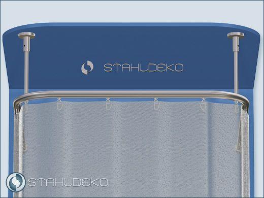 Alu Duschvorhangstange Ø 20mm, U-Form, mit Innenlaufrohr Wand oder Decke über 2 Ecken