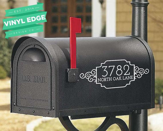 Set Of Custom Street Number And Street Name Mailbox Personalized - Custom vinyl decals numbers