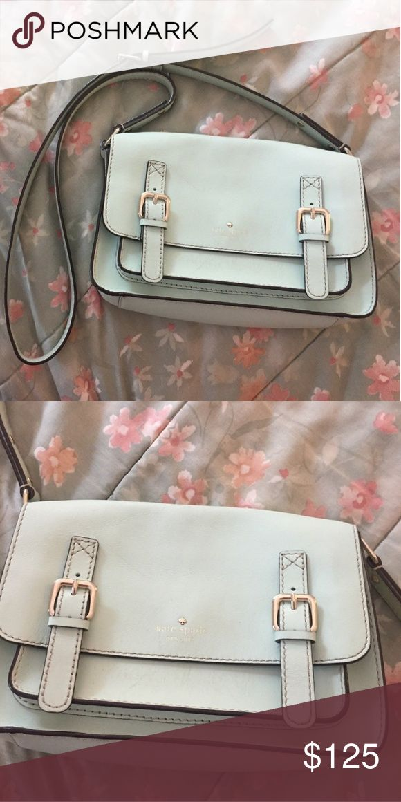 """Kate Spade Mint Blue Crossbody Purse Kate Spade Mint Blue Crossbody Purse. Gently used bag. Color is a light mint blue with gold hardware. DIMENSIONS: 8"""" H x 10"""" L x 4"""" W. I also have this purse in pink and black! Check out my other kate spade purses for sale! Comes from a smoke free home, bundle and save!  *All my earnings will go towards helping the victims of hurricane Maria in Puerto Rico* kate spade Bags Crossbody Bags"""