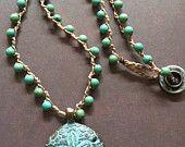 Green Patina Greek sand dollar Pendant Beach jewelry bohemian crochet necklace