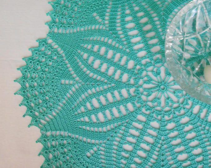 "Round aqua crochet tablecloth (38cm or 14.96""), crochet doily, wedding gift, table centrepiece, coffee tablecloth"