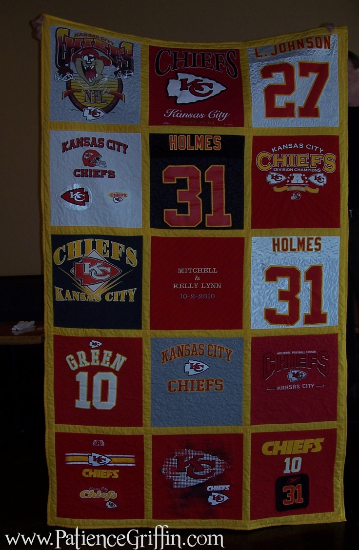 Kansas City Chiefs quilt I made for my son who is a huge Chief's fan. I learned not to use jersey's for tee shirt quilts