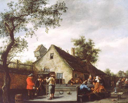 Jan Steen - Plattelandsmensen spelen een balspel