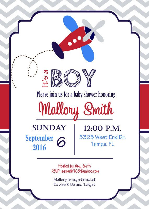 Airplane Baby Shower Invitation airplane boy by PrintYourEvent