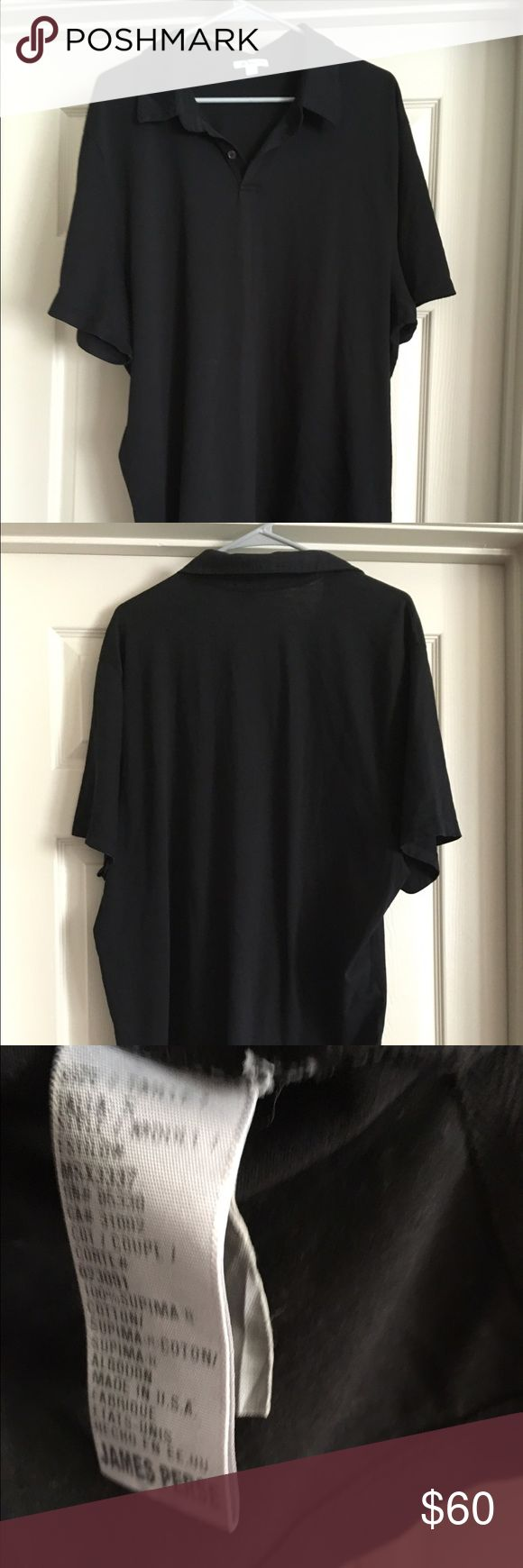 James Perse Sueded cotton polo shirt black 2XL 5 Worn only a few times by a non smoker. James perse size 5 is a us 2XL James Perse Shirts Polos
