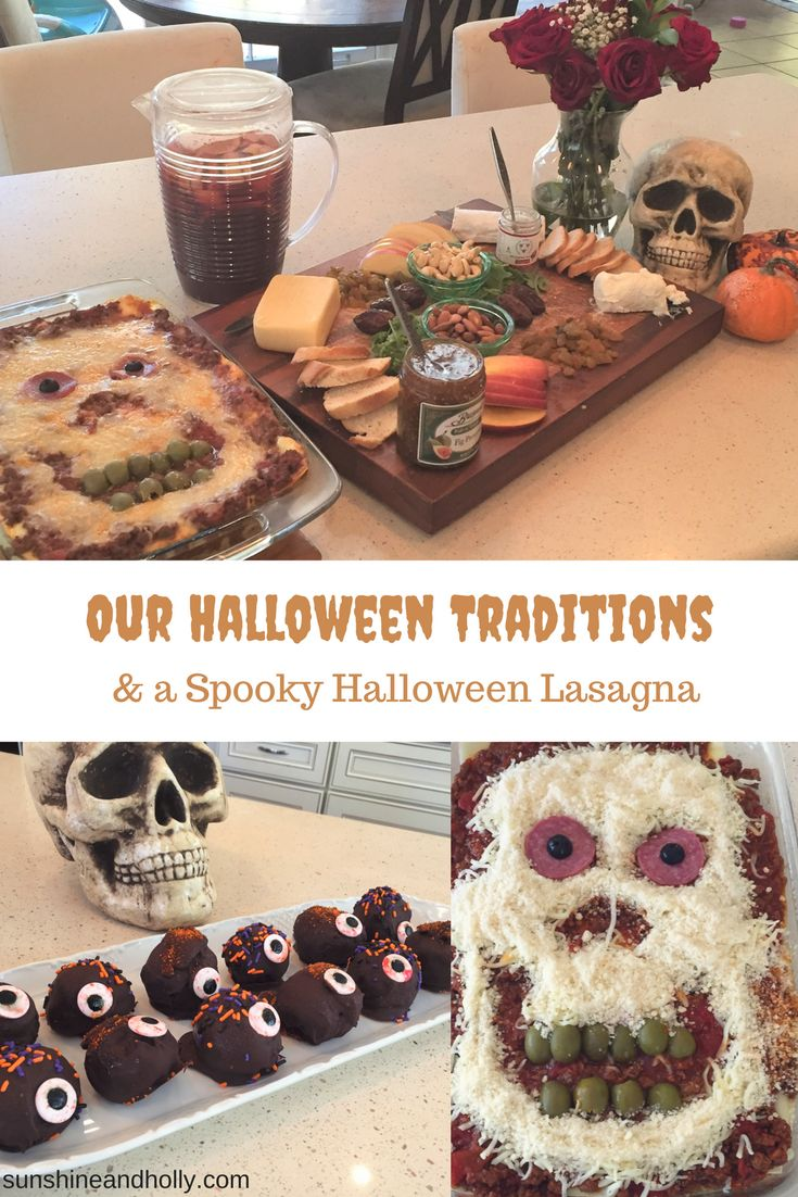 Our Halloween Traditions and a Spooky Halloween Lasagna | sunshineandholly.com | halloween party | oreo eyeball truffles