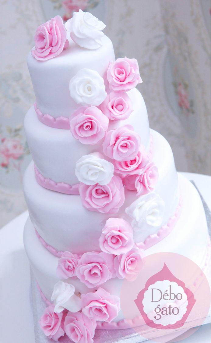 Pièce montée Roses Pastel Rose Blanc Cérémonie