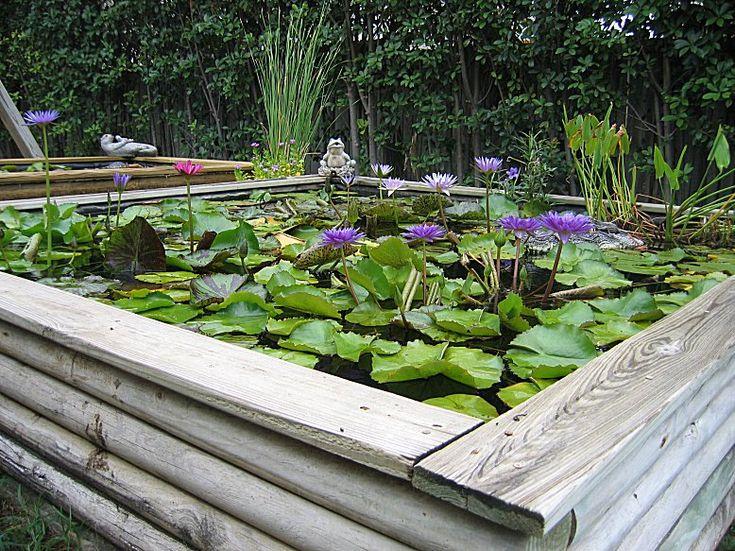 Landscape timber ponds gardens pinterest more for Wooden pond ideas