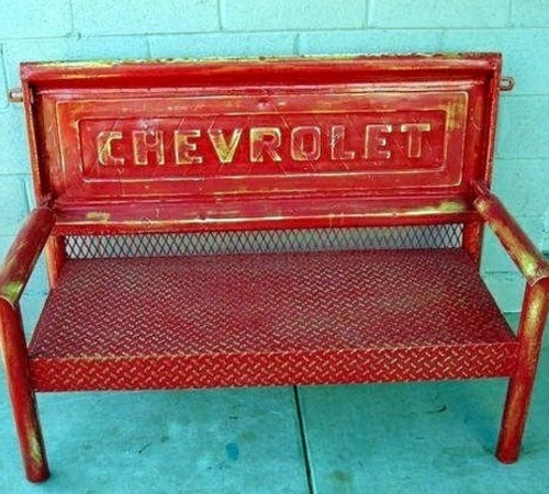 Pickup Tailgate Bench (For Tim's 'Man Cave' someday... I'd probably have to use a FORD tailgate though. Cute idea for Poppa, too.)