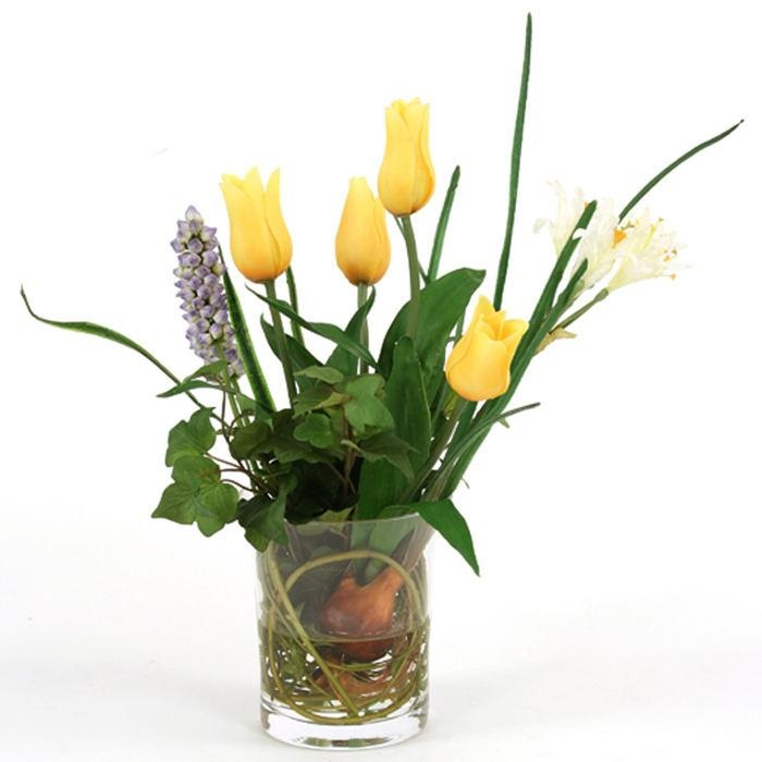 Waterlook silk summer garden flower mix in a small glass for Artificial bees for decoration