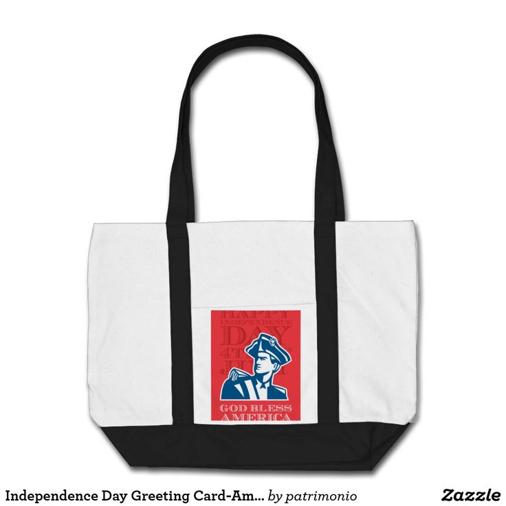 "Independence Day Greeting Card-American Patriot So. Tote bag showing an illustration of an American patriot bust looking to the side on isolated background with the words ""God bless America"" #independenceday #4thofjuly #totebag"