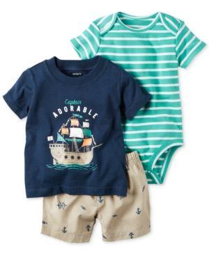 Carter's 3-Pc. Captain Adorable Cotton T-Shirt, Bodysuit & Shorts Set, Baby Boys (0-24 months) - Blue