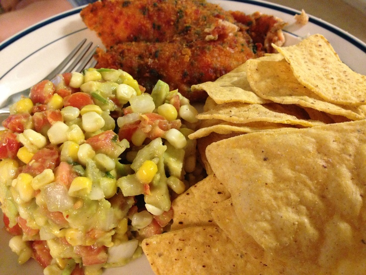 My version of California Pizza Kitchen's guacamole salsa and chips. This was served with tortilla encrusted tilapia.  Yum!