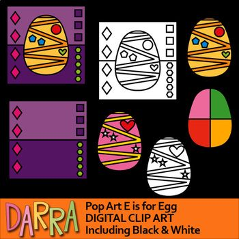Egg clip art in pop art style. So much fun! ALso great for the upcoming Easter activities and games. Alphabet E clipart set is fun for interactive coloring and for teaching shapes and counting.Be creative, and do mix and match the image and the background.It will be fun to use this collection for any school and classroom projects such as for study materials, learning worksheet, activities and games, and for more educational and fun creative projects!Format File: PNG (300dpi)Square size…