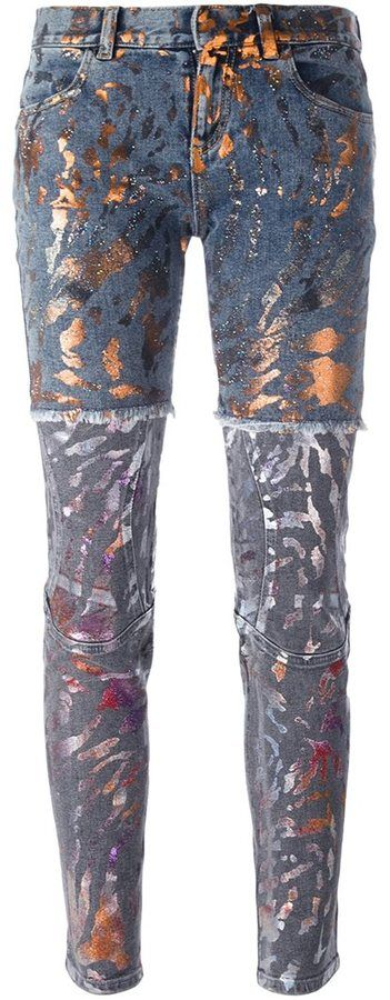 Faith Connexion paint splatter panelled jeans