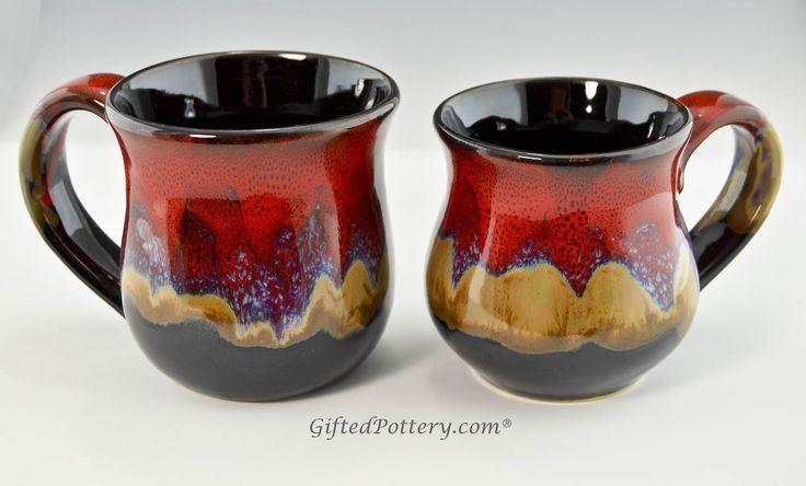 Handmade Pottery Desert Red Mugs 10 ozs Red desert glaze plus...