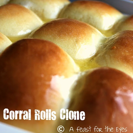 Golden Corral Rolls Recipe   2-¼	tsp fast acting yeast (or 1pkg)--I used Fleischmann;s Bread Machine Yeast ¼	cup warm water (105°F-110°F) 2	tsp sugar 1	cup milk, just to scalding hot (do not simmer or boil) ⅓	cup sugar ¼	cup butter 1	tsp salt 1	egg, lightly beaten 3½	cup bread flour (dough will be somewhat sticky, but the less you use, the lighter the rolls) 1	cup whole wheat flour ¼	cup vital wheat gluten (optional) 2	T butter, melted, for brushing