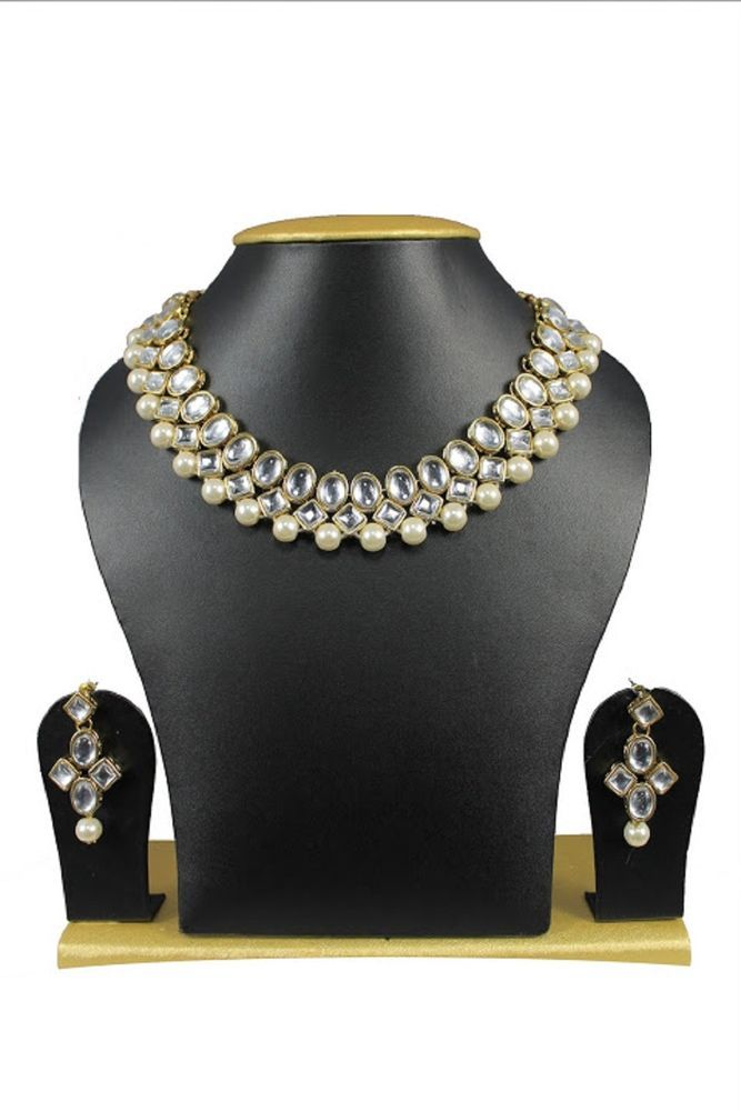 Bollywood Kundan Wedding Wear Ebay White Pearls Indian Jewelry Necklace Set #natural_gems15 #GoldPlated
