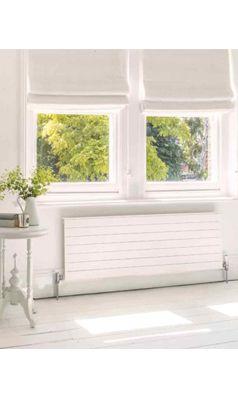 Bisque Decorative Single Panel Horizontal Radiator   White