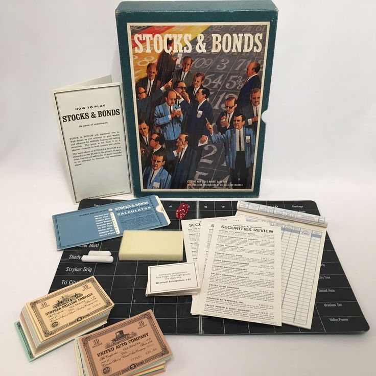 Stocks and Bonds Board Game 3M Bookshelf Vintage 1964 Complete #3M