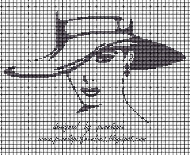 Penelopis' cross stitch freebies: Kobieta w kapeluszu/ Lady in the hat