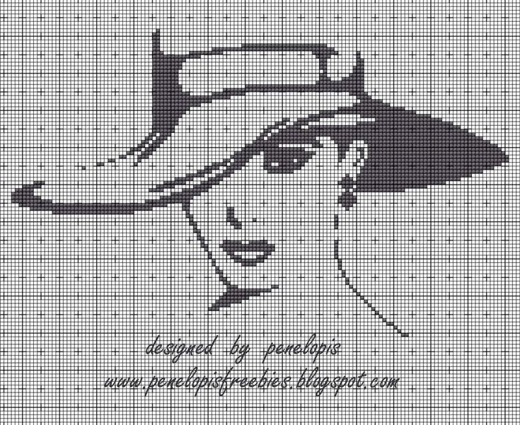 Penelopis' cross stitch freebies: A woman in a hat / Lady in the Hat