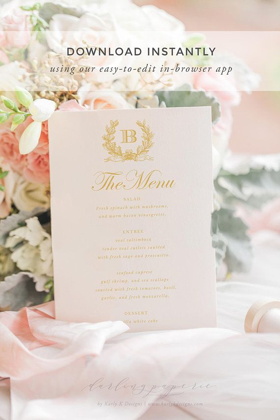 free templates for wedding response cards%0A Gold Wedding Menu Template  Wedding Menu Printable  Wedding Menu Cards   Wedding Menus