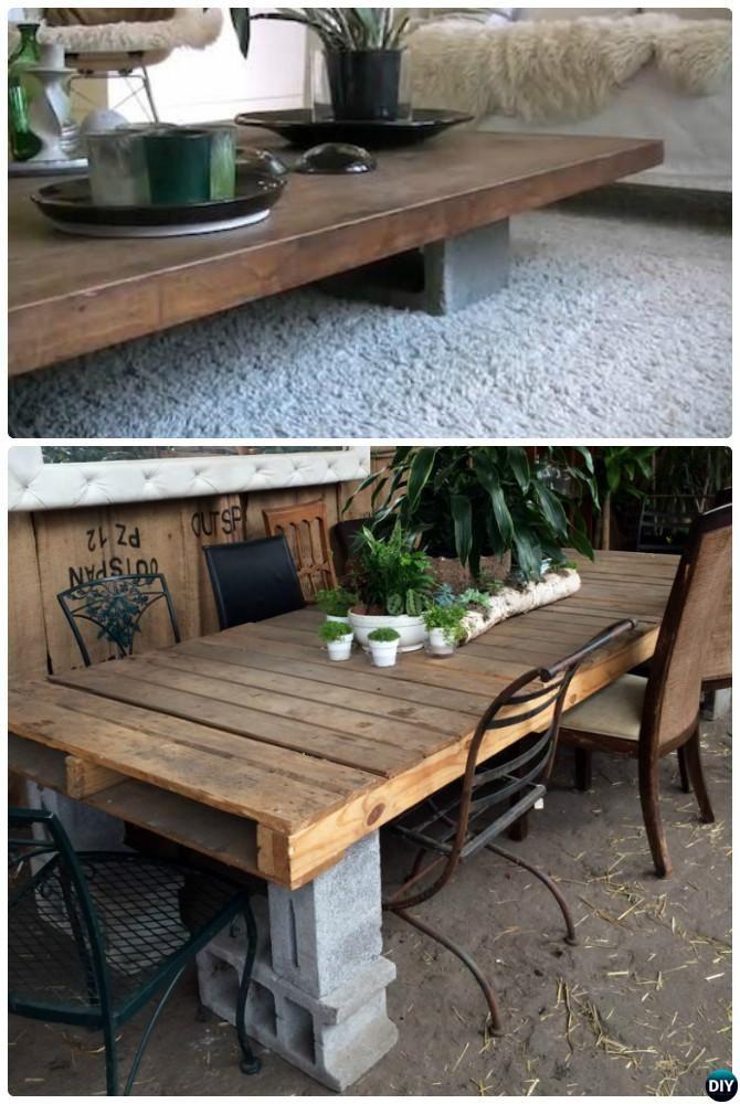 DIY Cinder Block Coffee Table-10 DIY Concrete Block #Furniture Projects