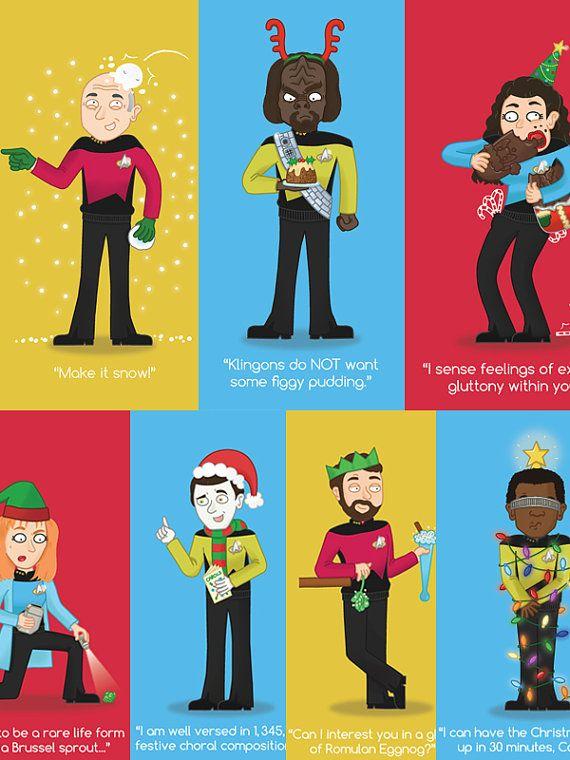 Star Trek Christmas Cards - The Next Generation Series - Geeky - Sci fi - Picard - Jean-Luc - Riker - Worf - Geordi - Crusher - Troi - Data