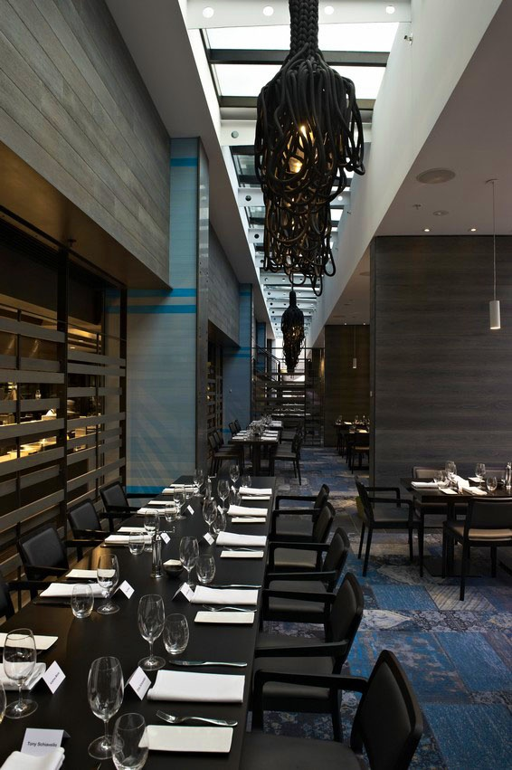 The Atlantic Restaurant uses a combination of Laminex FSC Timber Veneers  Smoked Oak and Seasoned Oak