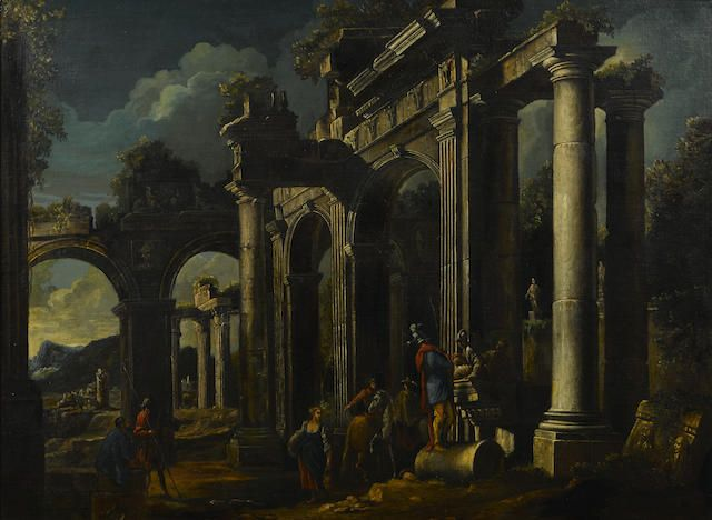 Follower of Leonardo Coccorante (Naples 1680-1750) A capriccio view with ruins and figures in the foreground  33 1/2 x 45in