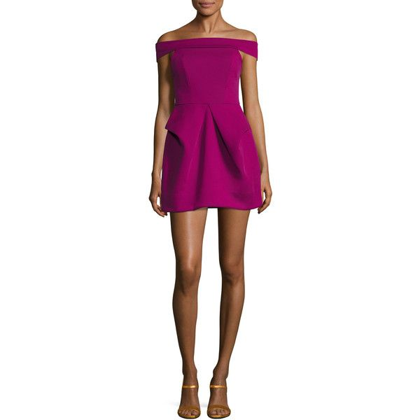 AQ/AQ Women's Magnate Off The Shoulder Mini Dress - Pink, Size 8 ($60) ❤ liked on Polyvore featuring dresses, pink, purple mini dress, pink dress, purple a line dress, short dresses and mini dress
