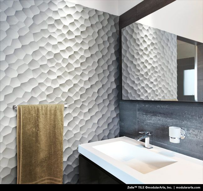 Zelle from modularArts, Inc.   Cast Rock tiles.Sounds heavy, but it's not! Multiple layers of gypsum with a glass fiber matrix create a strong, flexible, and lightweight panel. Installs with 2 screws.