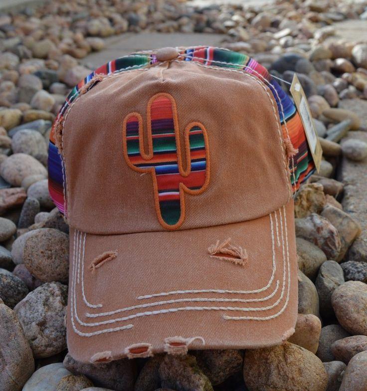 SERAPE CACTUS Cap hat Cowgirl Western Gypsy Southwest Lt Brown Distressed #Unbranded #BaseballCap