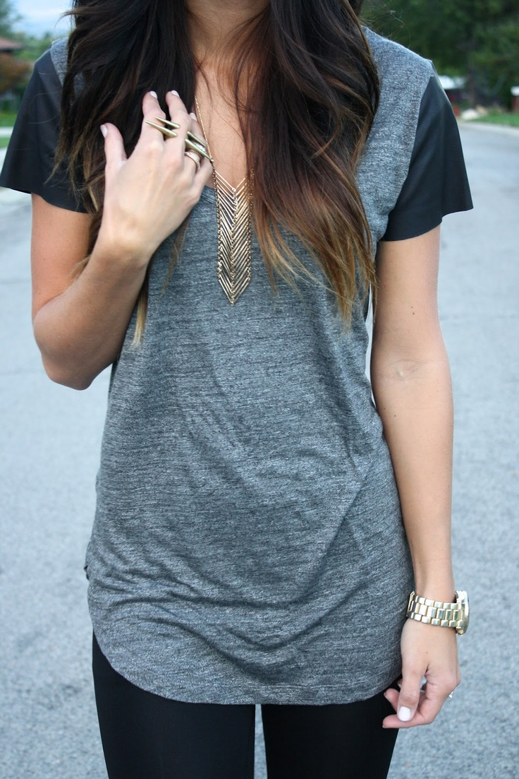 Zara t-shirt with leather sleeves