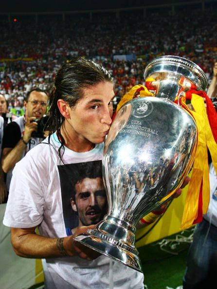Sergio Ramos of Spain kisses the trophy after the UEFA EURO 2008 Final match between Germany and Spain at Ernst Happel Stadion on June 29 2008 in...