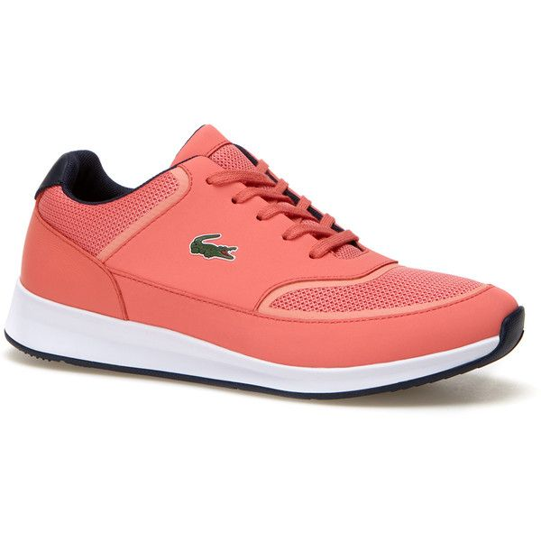 Lacoste Women`s Chaumont Lace Technical Canvas Sneakers ($100) ❤ liked on Polyvore featuring shoes, sneakers, lacoste trainers, plimsoll sneakers, lacoste shoes, lacy shoes and canvas trainers