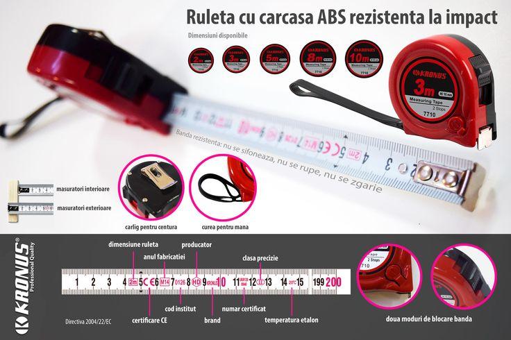 Ruleta cu banda metrologizata si carcasa ABS rezistenta la socuri Kronus art. 7710