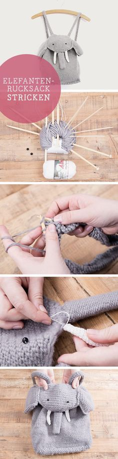 DIY-Anleitung für einen selbstgestrickten Elefanten-Rucksack / diy tutorial: knitted elephant backpack, children fun fashion via DaWanda.com