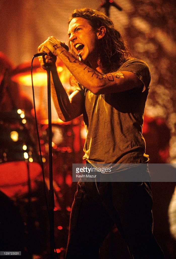 Eddie Vedder of Pearl Jam performs during Pearl Jam: MTV Unplugged at Kaufman Astoria Studios on March 16, 1992 in New York City.