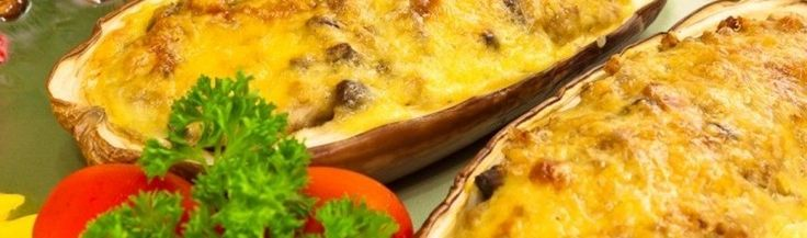 Gevulde aubergine met ham, champignons en boekweit