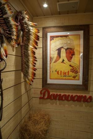 Our men's bathroom have an American Western edge. Donovans Restaurant