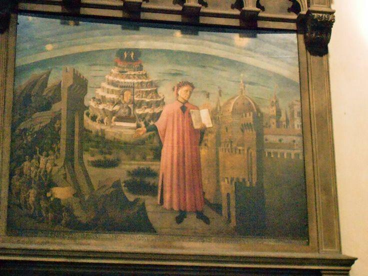 Dante Alighieri con in mano la Divina Commedia