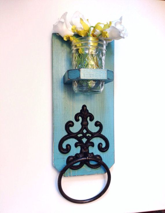 Cottage Styled Wooden Antiqued Towel Holder, Shabby Chic / French Country-MOSS GREEN on Etsy, $26.50