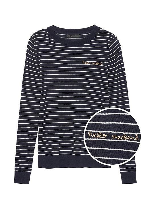 Stripe Womens Weekend Blue Bold Hello Banana Republic Petite Sweater 4wq1H8v