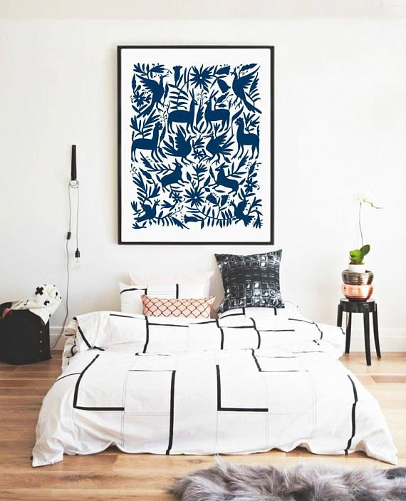 Otomi Mexico Navy Blue Big Size Print Otomi indian Oversized prints. Prints  and posters. Large WallsLarge Wall ArtBedroom ...