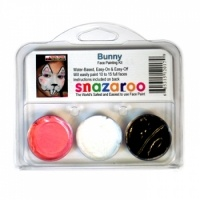 Snazaroo Bunny Face Painting Kits (3 Colors) from Facepaint.com. Snazaroo Bunny Face Painting Kit includes three Snazaroo face paint colors and step by step instructions to paint cute rabbit face painting designs. Snazaroo paints apply smoothly, can be easily blended and will dry in about 30 seconds to a streak-free, durable finish.Each Snazaroo Bunny Face Painting Kit includes three 2 ml Snazaroo paints in white, black and bright pink.